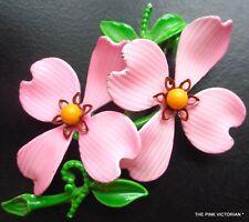 VTG LIGHT PINK DOGWOOD FLOWER PIN, DOUBLE BLOOM, METAL & ENAMEL, BOUQUET,HOLIDAY