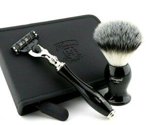 Smart Travel Shaving Set Triple Edge Cartridge Razor & Synthetic Brush with Case