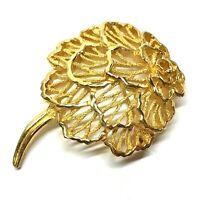 Crown Trifari Gold Tone Flower Brooch Pin, Floral, Filigree, Carnation, Vintage
