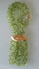 Vintage 18k Yellow Gold Peridot Multi Strand Necklace Estate Jewelry 59 gm
