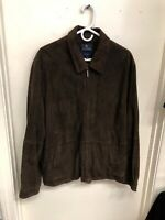 Brooks Brothers Suede Leather Jacket Size Large Brown Bomber Style J-235