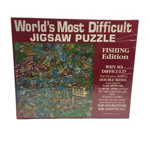 Worlds Most Difficult Jigsaw Puzzle Fishing Edition Double Sided 529 Pc Vintage