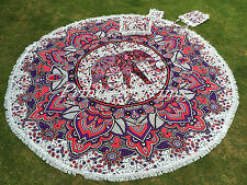 Elephant Mandala Roundie Bohemian Round Tapestry Beach Picnic Throw Rug Kit 82""