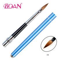 1Pc Blue Metal Pure Kolinsky Nail Art Brush Acrylic 3D Artiste Nail Brushes 4#