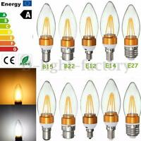 E14 B15 B22 E27 2W 4W Edison Filament COB LED Chandelier Candle Light Bulb