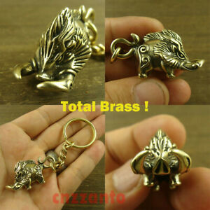 """Solid Brass """" wild boar """" shaped Key chain ring pendant keychain H553"""