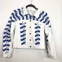 Rebecca Minkoff Size S Small White Blue Embroidered Denim Jacket Womens