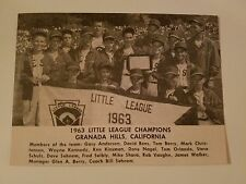 Granada Hills California Little League 1963 Baseball Team Picture