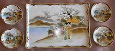 Plateau + 4 coupelles en porcelaine asiatique polychrome émail & dorures - Japon