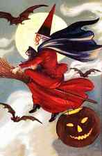 vintage art HALLOWEEN  WITCH Broom FULL MOON Jack o Lantern Bats