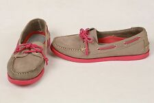 TESORI Mushroom Gray Nubuck Leather Pink Laces Boat Shoes Flats WOMEN'S SZ 8 EUC