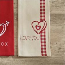 Love You Printed Dish Towel Red Heart Valentines Park Designs