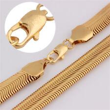 23'' Men Women Luxury 18K Gold Plated Flat Snake Chain Necklace herringbone 8mm