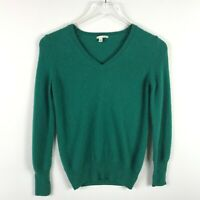 Halogen Cashmere V-Neck Sweater Size S Womens Green Long Sleeve Knit Pullover