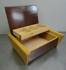 vintage sewing case 60s - Nähkästchen Nähkasten massiv Buchenholz Näh Box 60er