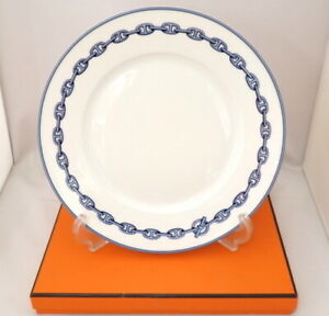 HERMES Dinner Plate Chaine D'Ancre Blue Dish Tableware Ornament New Unused 11 in