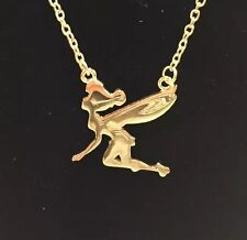 Disney Tinkerbell Pendant/Charm Necklace In Gold Tone Brand New Fast Ship