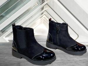 Girls Black designer patent Chelsea Ankle Boots - Zip Fastening (KSB45)