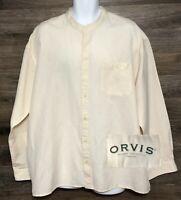 ORVIS Men's Linen Cotton Blend Beige Long Sleeve Button Front Casual Shirt XL