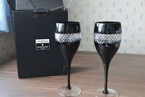 "2 Waterford Crystal John Rocha ""Black Cut"" Wine Glasses + Original Box Superb 9"""