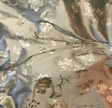 "Printed Silk SHANTUNG Fabric - Taupe & Gold Floral  54"" by the yard"