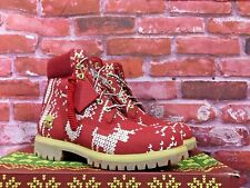 TIMBERLAND MEN'S SPECIAL RELEASE UGLY SWEATER 6-INCH WATERPROOF RED BOOTS A1U6K
