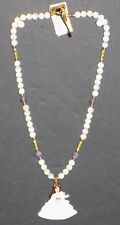 WHITE AND PURPLE BEADED NECKLACE WITH SCARLETT O'HARA PENDANT 18 INCH