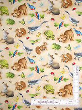 Forest Animals Turtle Squirrel Cream Cotton Fabric Wilmington Quiet Bunny - Yard