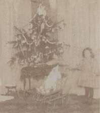 1890s CABINET PHOTO GIRL WITH BABY DOLL & PRAM AT CHRISTMAS TREE