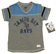 NEW Tampa Bay Rays MLB Baseball V-Neck Gray Blue Logo Tee T-Shirt Girl's Large