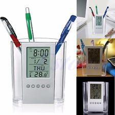 LCD Digital Alarm Clock Desk Pencil Pen Holder Organizer Thermometer Calendar