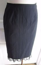 Tristan & Iseut Womens 4 Navy Blue Pinstriped Pencil Ruffle Suit Skirt Canada