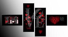 GRANDE Amore, Cuori, Rosso Nero Bianco Tela SPLIT Wall Art 4 Pannello di 146 cm di larghezza
