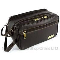 New Mens Rowallan Brown Leather Wash Bag Travel Toiletries Travel Stylish