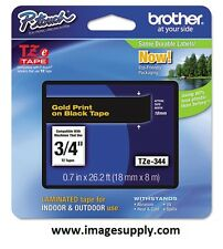 GENUINE Brother TZe-344 Tape TZ344 / Ptouch Tape TZE344 Gold on Black 3/4""