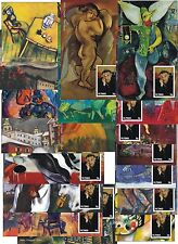 CHAGALL  PAINTINGS ART CIRCUS 18 SOUVENIR SHEETS MNH UNPERFORATED