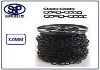 3mm STEEL CHAIN, WELDED LINK, ELECTRO BLACK PLATED 1 MTR UP TO 10 MTRS LENGTHS