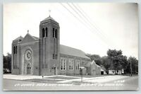 Prairie du Chien Wisconsin~St John's Nepomuc Catholic Church~1955 RPPC Postcard