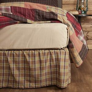 VHC Brands Rustic Twin Bed Skirt Tan Gathered Wyatt Cotton Plaid Bedroom Decor