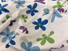 VTG FULL FLAT SHEET SPRINGS 70's STYLE FLORAL BLUE PURPLE GREEN, FLOWER POWER!