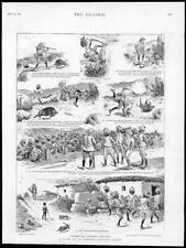 1895 Antique Print - INDIA PANTHER HUNT ILLUSTRED STORY SUBALTERN LETTER (230)