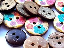 10 Mixed FLOWER COCONUT BUTTONS 10-15mm - Craft, Sewing, Home decor - UK SELLER