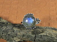 Natural Blue Flash Labradorite 925 Solid Sterling Silver Ring Size US 8.5 R003