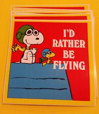 10 Vintage PEANUTS  SNOOPY I'd Rather Be Flying Bumper Stickers NOS '80's Unused