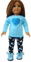 """Blue Sparkle Heart Outfit Top & Leggings for 18"""" American Girl Doll Clothes"""
