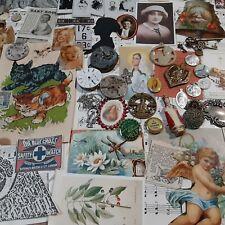 ARTIST 100 religious medals watch parts paper ephemera jewelry junk drawer items