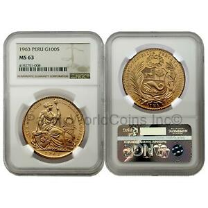 Peru 1963 Seated Liberty 100 Soles Gold Coin NGC MS63 SKU# 7633