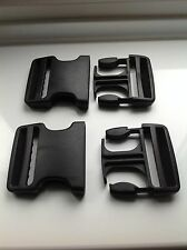 2 x 50mm Black Dual Adjust Side Release Buckle Fastener