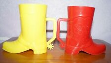 Vintage 1950s Red & Yellow Cowboy Boot Spur Western Plastic Cup Mug Wow Lot of 2