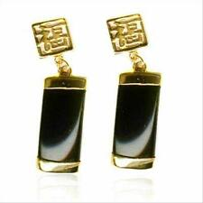 18K Gold over 925 Silver Onyx Chinese Motif Dangle Earrings